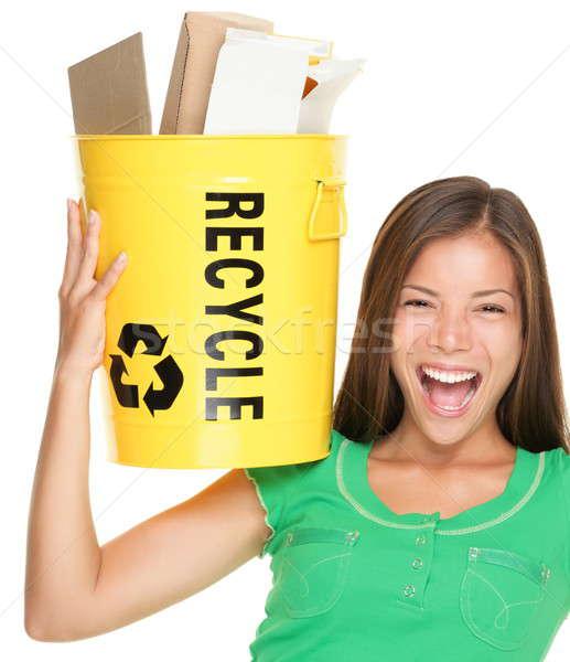 Stock fotó: újrahasznosít · nő · újrahasznosítás · papír · tart · kosár