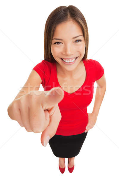 Stock photo: Woman pointing camera smiling happy