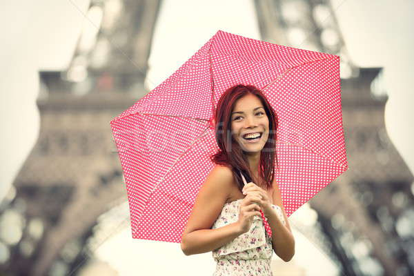 Stock photo: Paris Eiffel Tower Woman