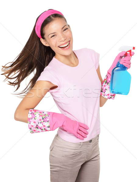 Spring cleaning woman fun isolated Stock photo © Ariwasabi