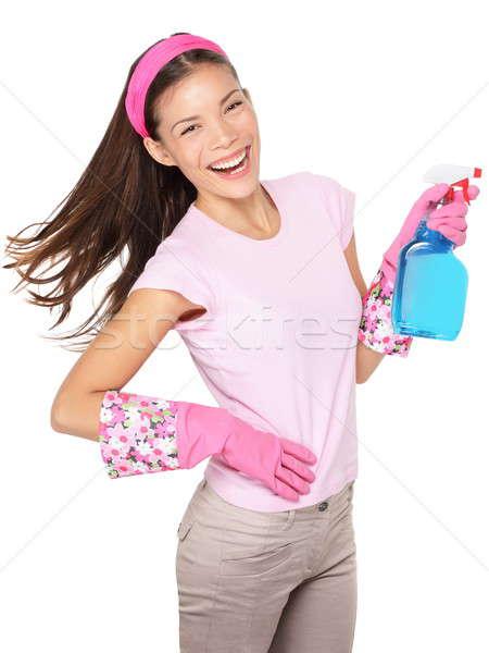 Kobieta zabawy odizolowany czyszczenia kobietę wskazując Zdjęcia stock © Ariwasabi