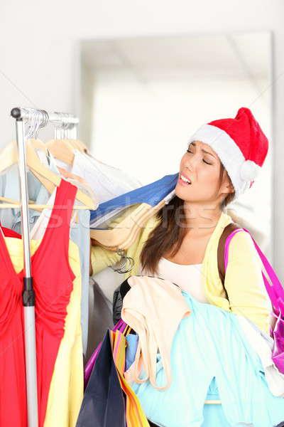 Foto stock: Navidad · compras · mujer · cansado · funny · imagen