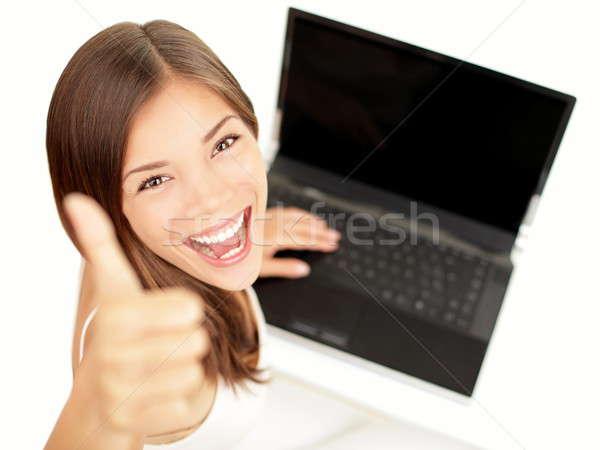 Dizüstü bilgisayar kadın mutlu başarı imzalamak Stok fotoğraf © Ariwasabi