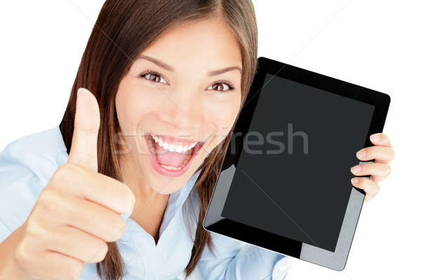 Tablet computer woman happy Stock photo © Ariwasabi