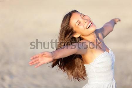 Gondtalan tengerpart nő boldog derűs mosolyog Stock fotó © Ariwasabi