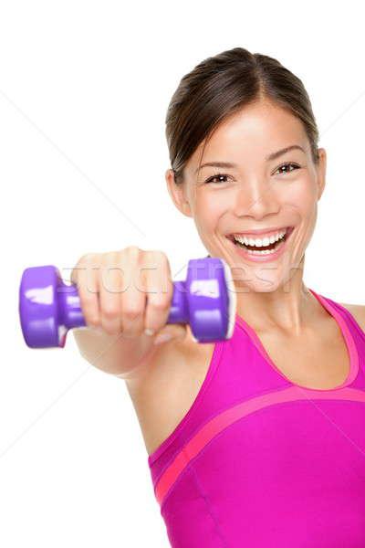 Fitness vrouw geschikt fitness meisje glimlachend gelukkig Stockfoto © Ariwasabi