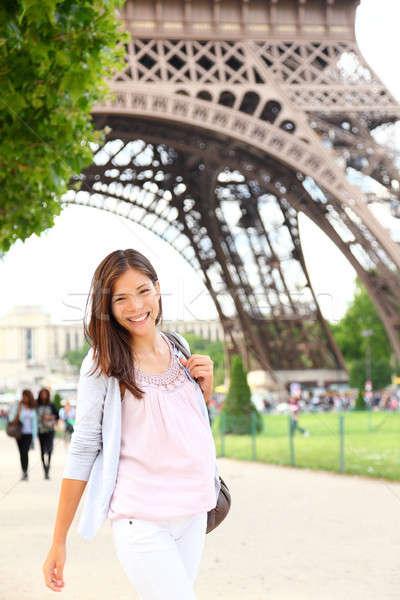 Foto d'archivio: Parigi · donna · Torre · Eiffel · sorridere · giovani · felice