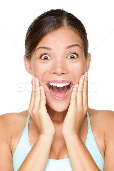 şaşırmış mutlu gülen genç kadın portre Stok fotoğraf © Ariwasabi