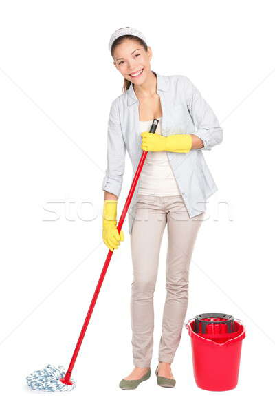 Cleaning woman washing floor mop Stock photo © Ariwasabi