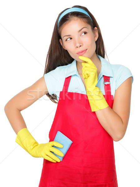 Stok fotoğraf: Kadın · temizlik · düşünme · temizlik · bayan · yalıtılmış · beyaz