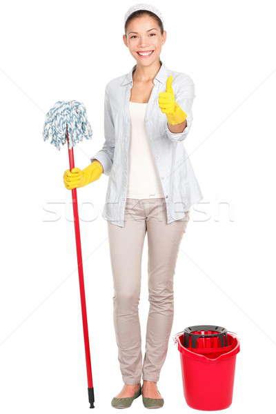 Foto d'archivio: Donna · donna · delle · pulizie · pulizia · felice · sorridere