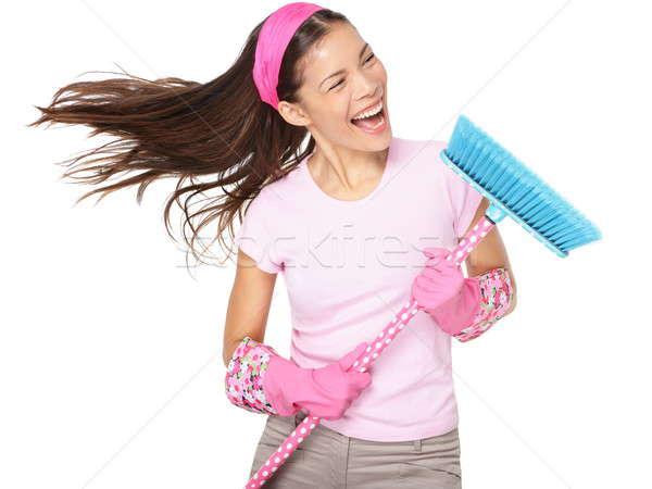 掃除婦 歌 大掃除 かわいい 面白い ストックフォト © Ariwasabi