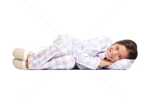 Kobieta odizolowany piżama cute kapcie Zdjęcia stock © Ariwasabi