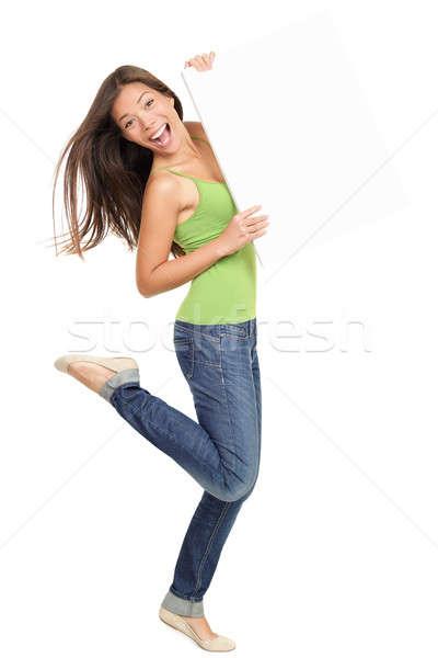 Foto stock: Mulher · assinar · conselho · quadro · de · avisos · sorridente
