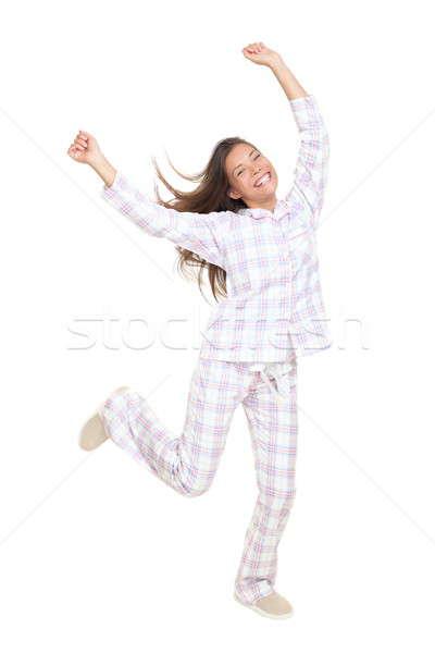 Vrolijk gelukkig dansen pyjama vrouw geïsoleerd Stockfoto © Ariwasabi