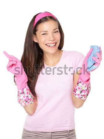 Foto d'archivio: Pensare · donna · delle · pulizie · guardando · fotocamera · sorridere · pensieroso