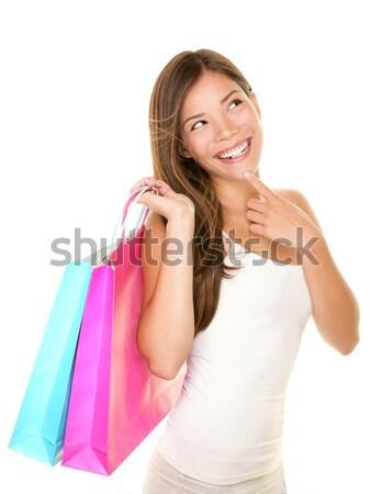 Stock fotó: Vásárlás · nő · boldog · néz · üres · copy · space