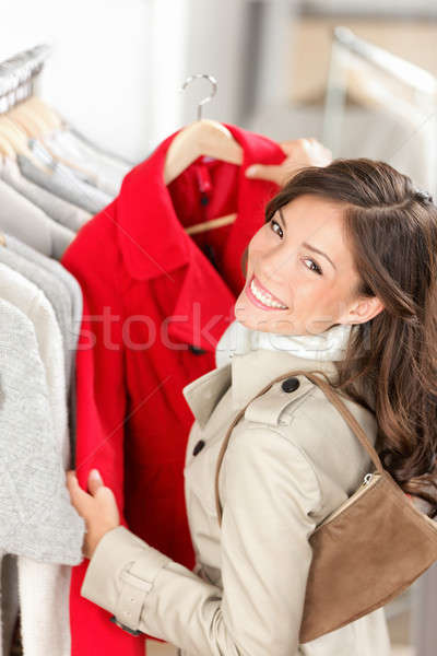 Photo stock: Shopping · femme · vêtements · magasin · regarder