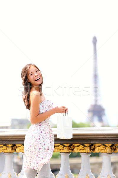 Stok fotoğraf: Paris · kadın · mutlu · gülen · Eyfel · Kulesi · güzel