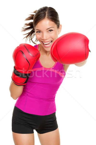Boxer fitness donna boxing indossare guantoni da boxe fitness Foto d'archivio © Ariwasabi