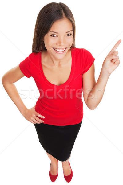 Wijzend tonen vrouw glimlachen vrolijk grappig Stockfoto © Ariwasabi