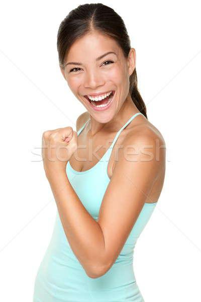 Stock fotó: Fitnessz · nő · friss · energia · mutat · bicepsz · izmok