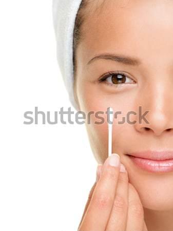Schoonheid vrouw tonen katoen gezicht oog Stockfoto © Ariwasabi