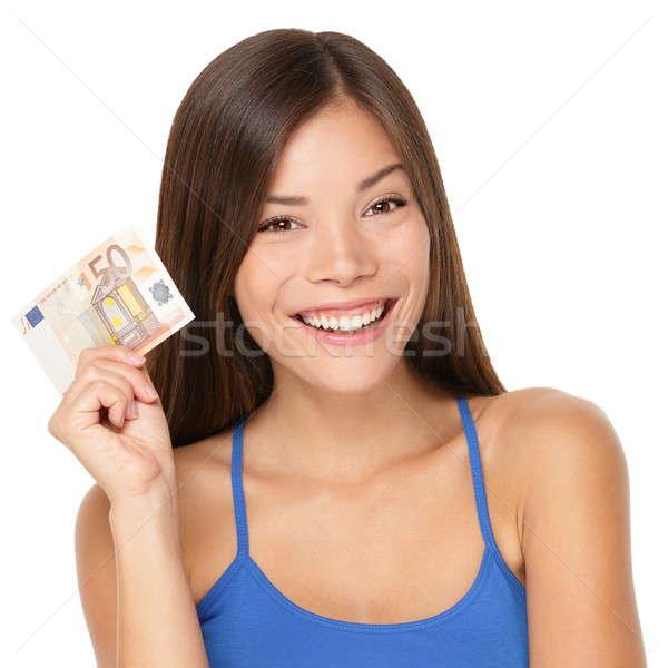 Woman holding euro money note Stock photo © Ariwasabi