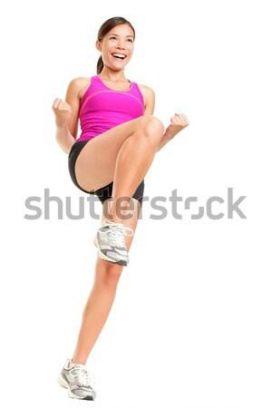 Aerobik kobieta fitness instruktor odizolowany Zdjęcia stock © Ariwasabi