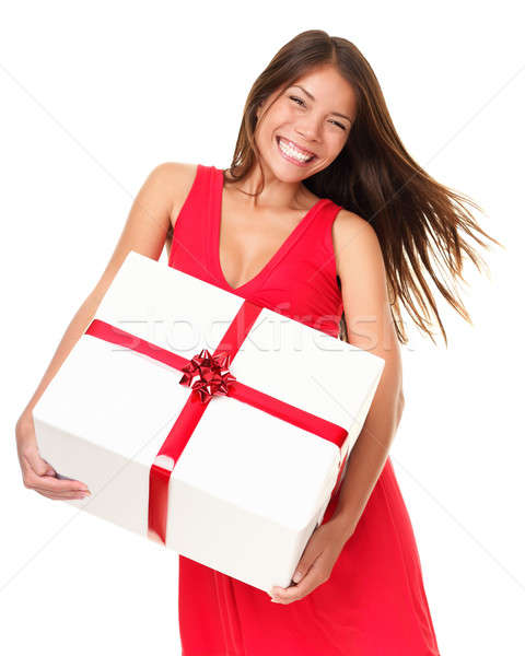 Asian woman with gift Stock photo © Ariwasabi