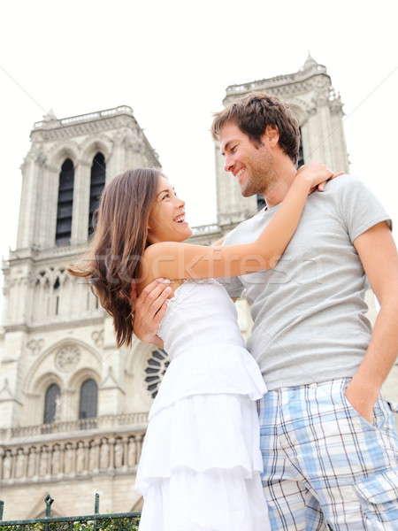 Париж счастливым пару Собор Нотр-Дам Сток-фото © Ariwasabi