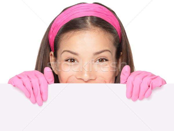 Czyszczenia kobietę podpisania czyszczenia pani Zdjęcia stock © Ariwasabi