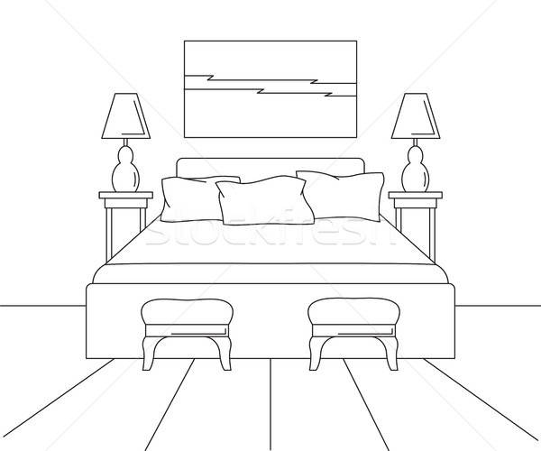 Linear sketch of an interior. Sketch line bedrooms. Bed, two stools, two lamps and a picture above t Stock photo © Arkadivna