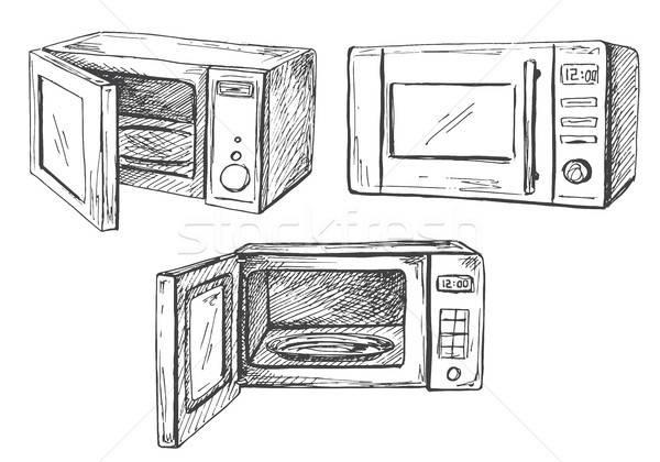 Ingesteld magnetronoven oven geïsoleerd witte schets Stockfoto © Arkadivna