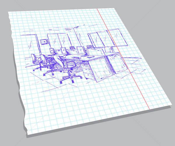 手描き スケッチ インテリア ノートブック シート クイック ストックフォト © Arkadivna
