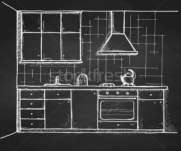Cozinha mobiliário esboço estilo casa Foto stock © Arkadivna