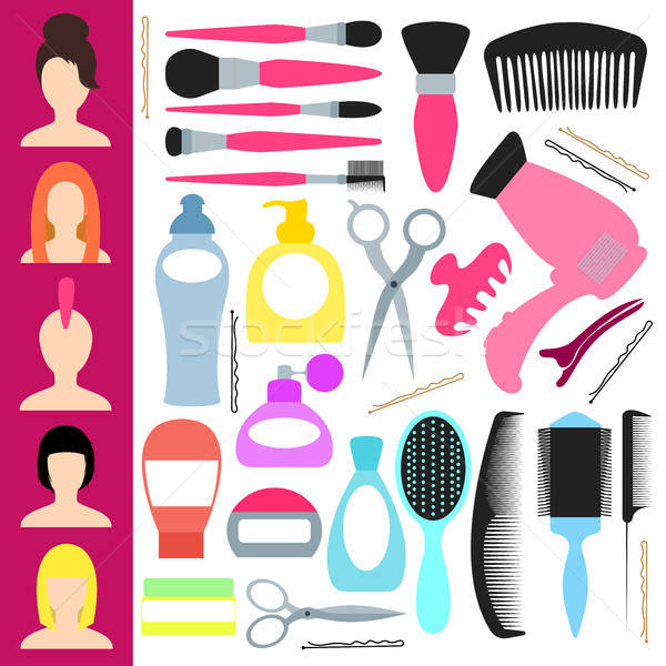 Icons for haircuts and styling. Vector illustration in flat style Stock photo © Arkadivna