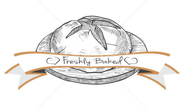 Címke pékség termékek rajz stílus háttér Stock fotó © Arkadivna