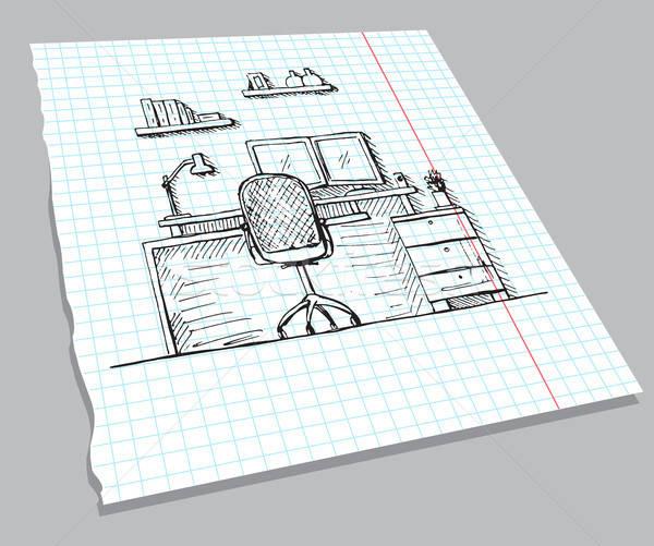 Schets interieur notebook stoel bureau Stockfoto © Arkadivna
