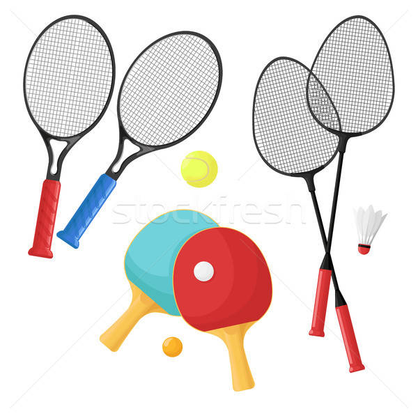 Sport items for: tennis, badminton and ping-pong.  Rackets and balls, shuttlecock  isolated on a whi Stock photo © Arkadivna