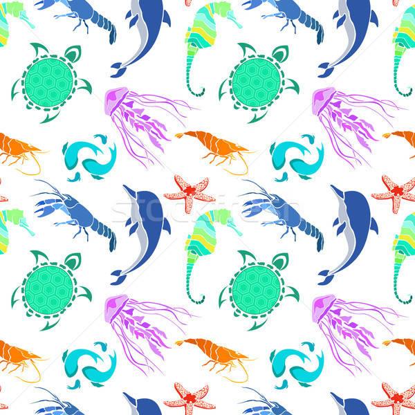Marine life. Seamless multicolored pattern. Stock photo © Arkadivna