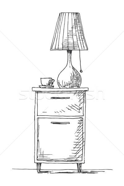 Bedside table with a lamp. Vector illustration in sketch style. Stock photo © Arkadivna