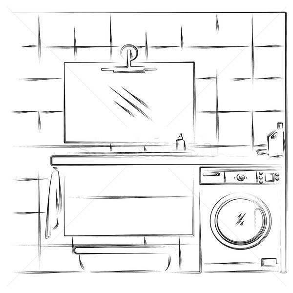 Liniowy szkic wnętrza łazienka wektora domu Zdjęcia stock © Arkadivna