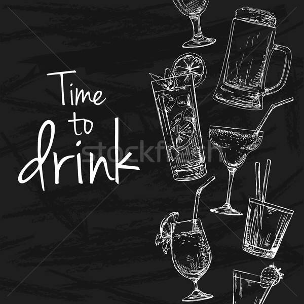Background with different cocktails. Drawing chalk on a blackboard. Caption: time to drink. Place on Stock photo © Arkadivna
