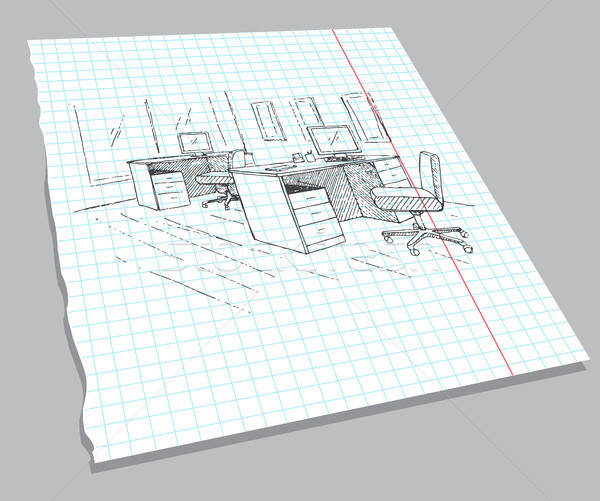 Hand drawn sketch of the interior on a notebook sheet. Quick drawing of office furniture. Vector ill Stock photo © Arkadivna