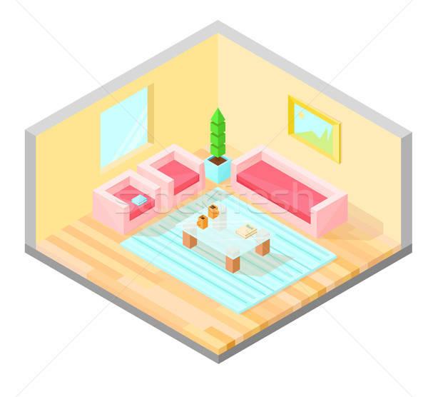 Oturma odası izometrik dizayn tablo koltuk kanepe Stok fotoğraf © Arkadivna