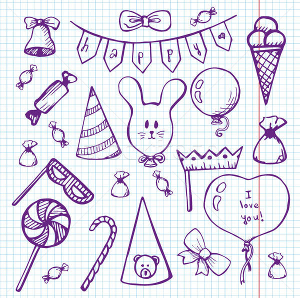 Balões presentes caderno esboço estilo papel Foto stock © Arkadivna