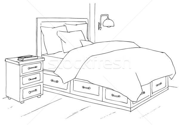 Hand drawn sketch. Linear sketch of an interior. Sketch Line bedrooms. Vector illustration Stock photo © Arkadivna