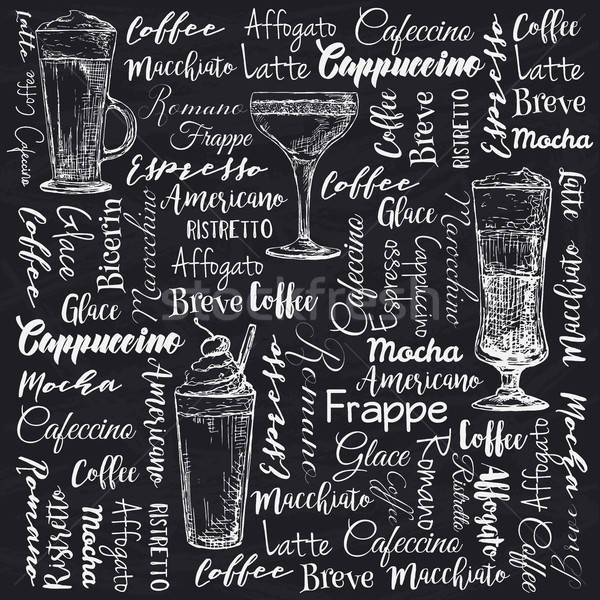 The names of different types of coffee. Different coffee cocktails. Vector illustration of a sketch  Stock photo © Arkadivna