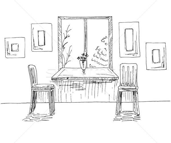 Venster breed twee stoelen muur Stockfoto © Arkadivna